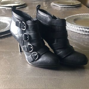 Coach black buckle booties
